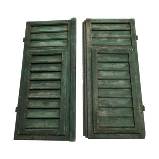 Vintage French Louvered Shutters - A Pair