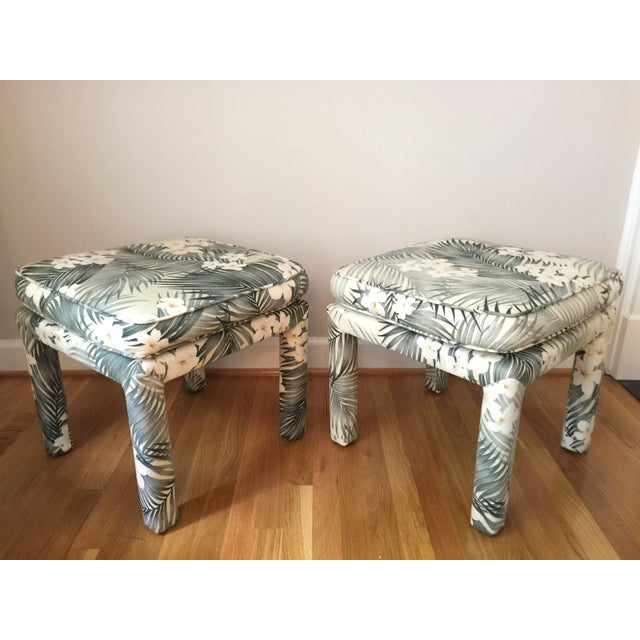 Parsons Stools With Palm Leaf Fabric - A Pair - Image 3 of 11