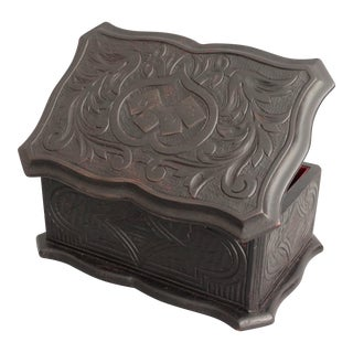 Antique Black Forest Carved Playing Cards Games Box