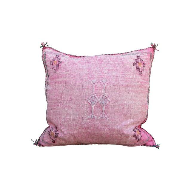 Image of Moroccan Pink Sabra Cactus Silk Pillow