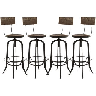 Alvar Industrial Loft Reclaimed Oak Iron Adjustable Barstools - Set of 4