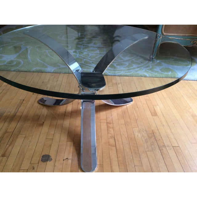 Chrome Base Circle Glass Top Coffee Table - Image 5 of 11