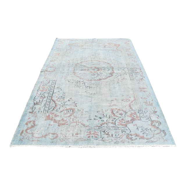 Vintage Oushak Sky Blue Distressed Handwoven Area Carpet -5′5″ × 8′2″ - Image 1 of 6