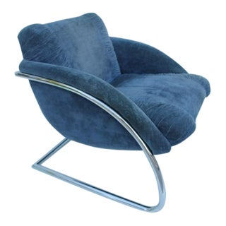 Vintage Blue Cantilevered Chrome Accent Chair