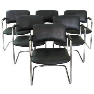 Vintage Steelcase Black Cantilever Chairs - Set of 6