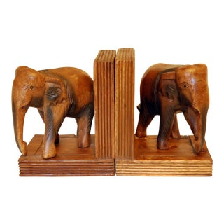 Vintage Carved Wood Elephant Bookends - A Pair