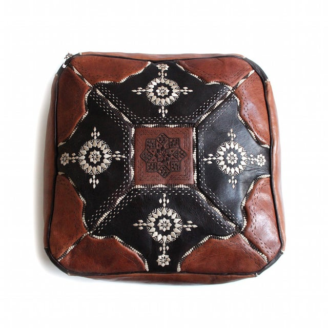 Moroccan Leather Pouf - Image 2 of 2