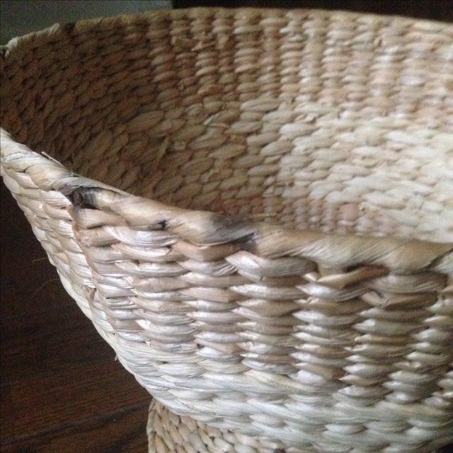Vintage Natural Straw Pedestal Bowl - Image 10 of 11
