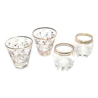 Golden Bling Vintage Bar Builders Glasses - Set of 4