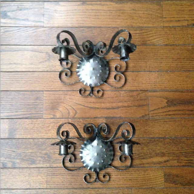 Spanish Revival-Style Candle Sconces- A Pair - Image 3 of 11
