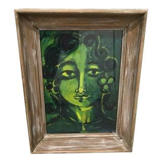 1940s-50s Asian Woman Gouache Painting