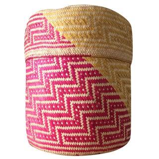 Pink & Yellow Oaxacan Palm Basket