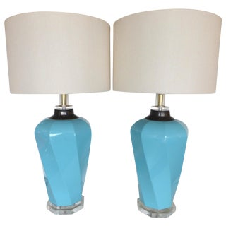 Bauer Lucite, Ceramic & Brass Table Lamps - Pair