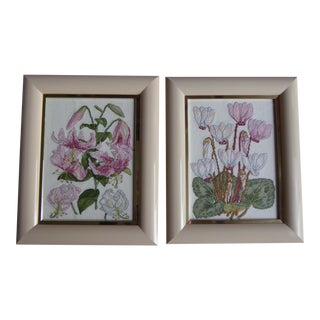 Vintage Floral Cross Stitch Artworks - A Pair