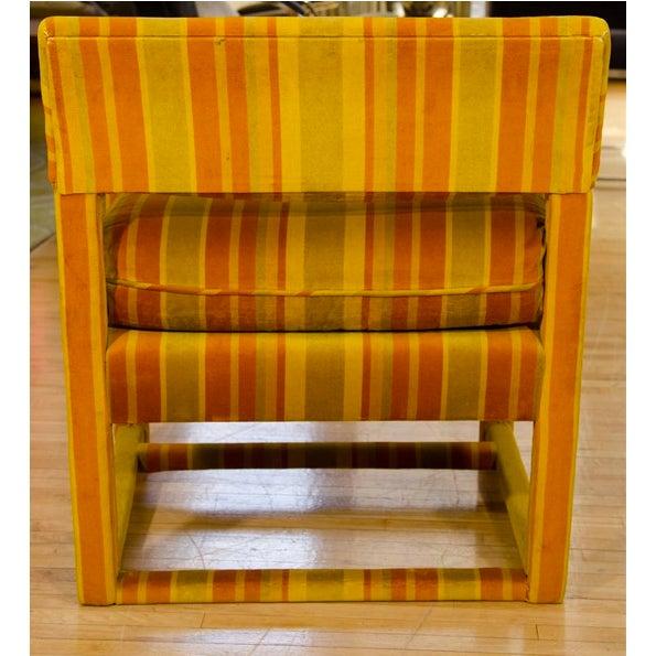 Mid-Century Orange Striped Velvet Armchairs - Pair - Image 2 of 10