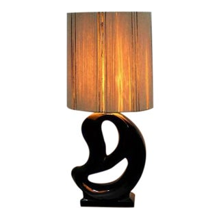 Art Deco Black Open Base Table Lamp With Off-White Lampshade