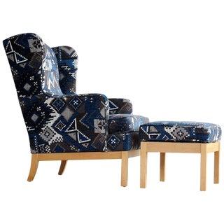 Kai Lyngfeldt Larsen Style Danish Wingback Armchair with Ottoman