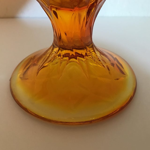 Image of Vintage Fenton Style Orange Stretch Glass Vase
