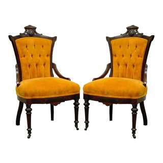 Antique Victorian Carved Walnut Fireside Parlor Side Chairs - a Pair