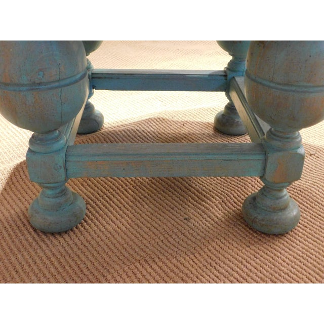 Painted Turquoise Table With Gold Glaze - Image 6 of 9