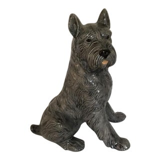 Large Gray Pottery Dog Figurine