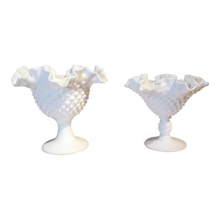 Fenton Milk Glass Hobnail Compotes - A Pair