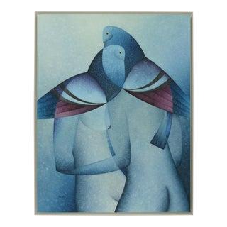 "Dagobhis Dopazo Alonso ""Pigeons"" Original Oil Painting"