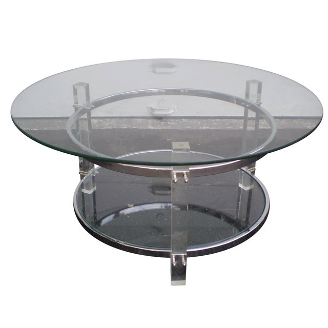 Mid Century Chrome Coffee Table: Mid-Century Two-Tier Lucite & Chrome Coffee Table