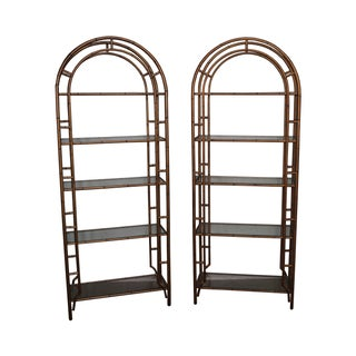 Hollywood Regency Gilt Metal Faux Bamboo Etageres - A Pair