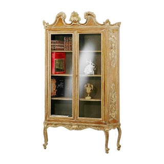 French Hand Carved Wood Bookcase
