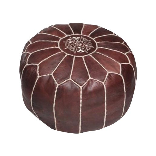 Moroccan Leather Pouf Brown - Image 1 of 3