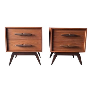 Mid-Century Sculpted Handle Nightstands - A Pair
