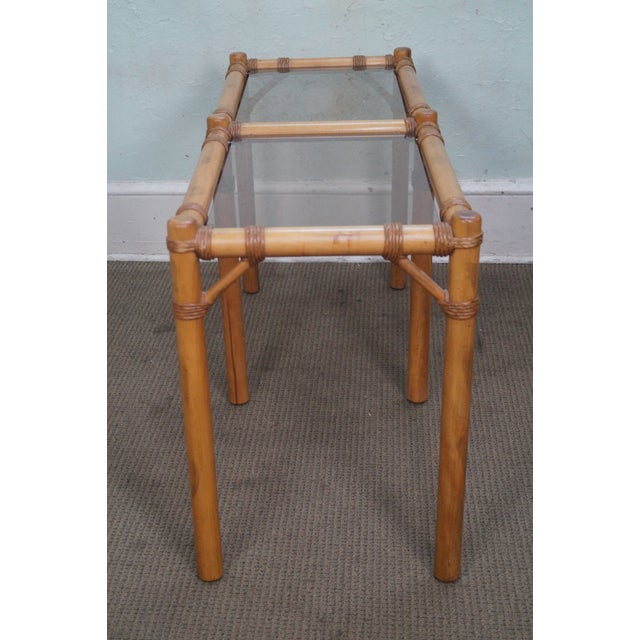 Vintage Faux Bamboo Console Table - Image 3 of 10