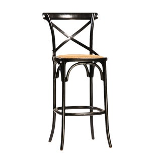 Black Painted Oak Stool