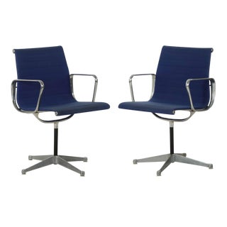 Charles Eames for Herman Miller Blue Swivel Chairs - a Pair