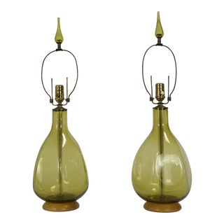 Pair of Green Blenko Glass Lamps with Matching Finials
