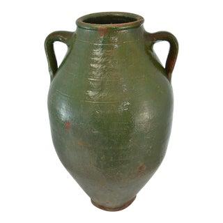 Turkish Oversize Dark Green Glazed Olive Urn