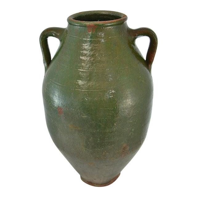 Turkish Oversize Dark Green Glazed Urn - Image 1 of 9