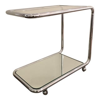 Chrome and Glass Art Deco Revival Bar or Serving Cart