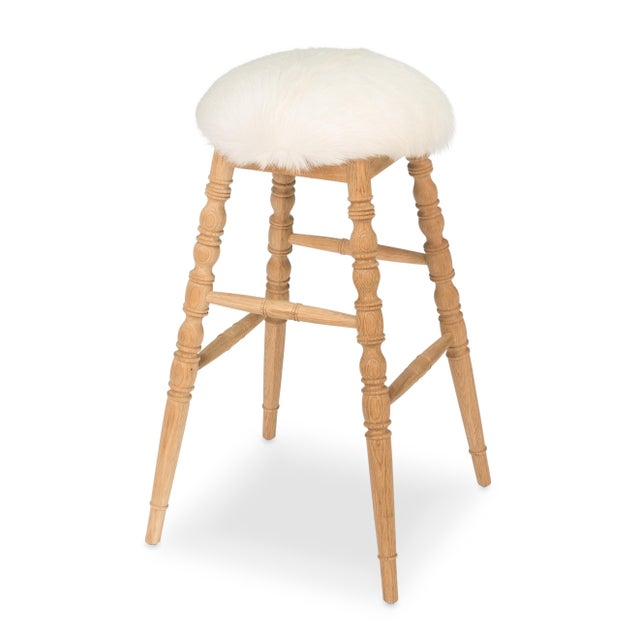 Image of Sarreid LTD Winoma Wood & Goatskin Bar Stool