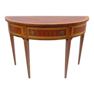 Italian Inlaid Banded 1 Drawer Demi-lune Console Hall Table