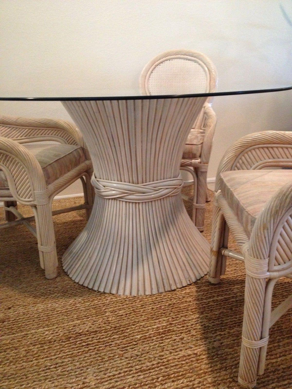 McGuire Sheaf Of Wheat Rattan Dining Table Bamboo Center Table   Image 2 Of  4