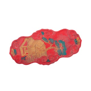 """Chinese Antique 10"""" Red Ink Stone & Dragon Relief"""