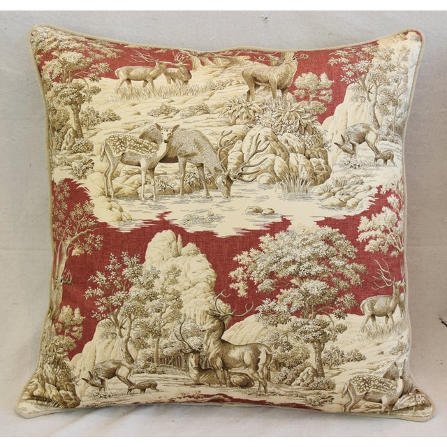 Custom Woodland Toile Deer & Velvet Pillows - a Pair - Image 4 of 10