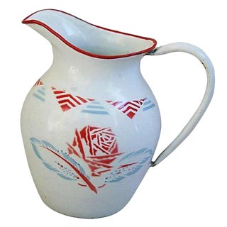 1930s French Porcelain Enamelware Jug/Pitcher