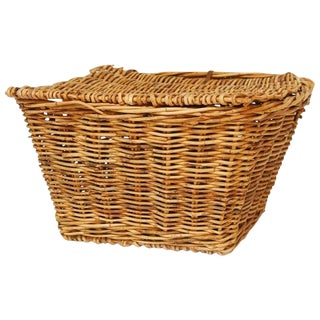 French Rattan Lidded Harvest Basket