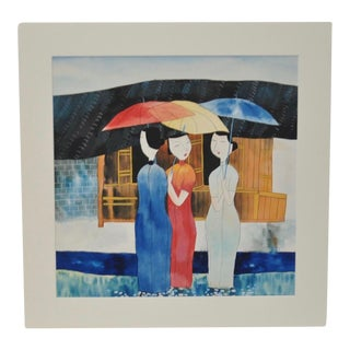 'Three Women with Umbrellas' Watercolor