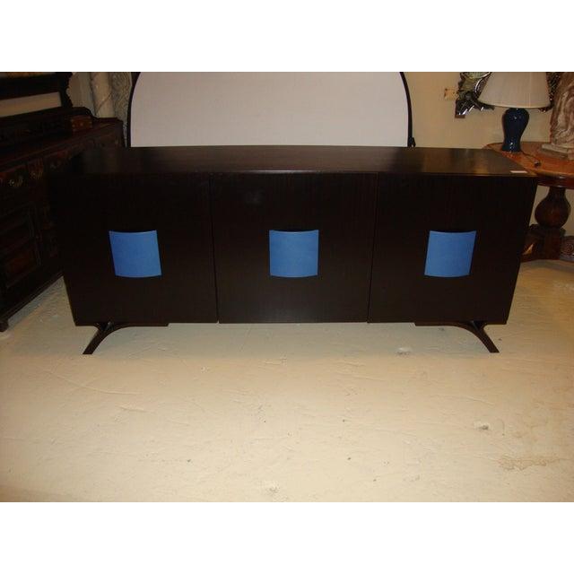 Image of Hollywood Regency Style Dakota Jackson Ebony & Celeste Blu Panel Sideboard