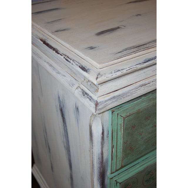 Vintage Shabby Chic Painted Green & White Dresser - Image 5 of 9