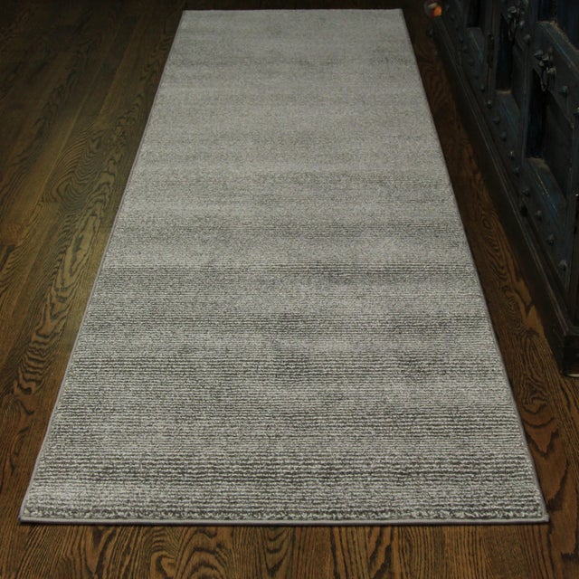 Contemporary Gray & White Striped Rug - 2'8'' x 10' - Image 2 of 6